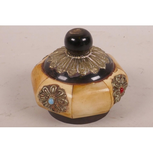 21 - An Oriental sectional bone opium jar with metal and gem stone embellishments, 2¼