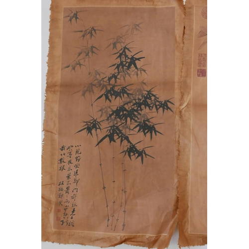 22 - Two Chinese pictures of bamboo and birds, signed with calligraphy and seal marks, 26