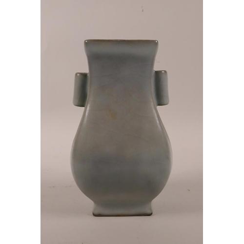 33 - A Chinese celadon crackleglaze vase with two lug handles, 7