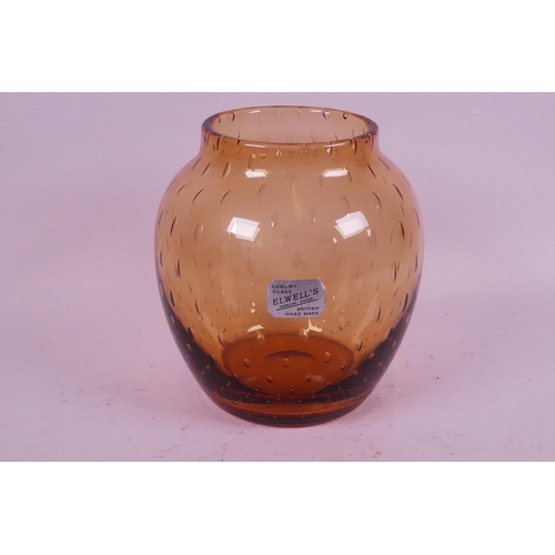 51 - A Keith Murray design for Stevens and Williams, brown bubble glass vase, retailed by Elwells of Harl...