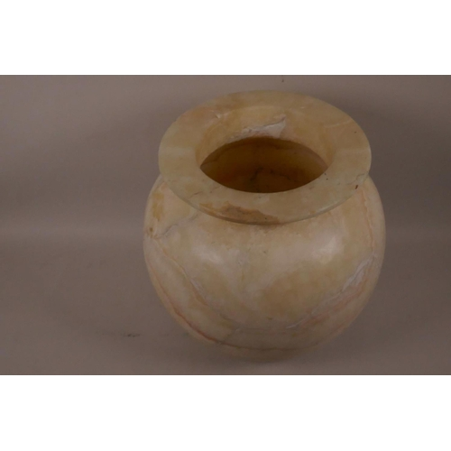 52 - An alabaster lamp jar, 10½