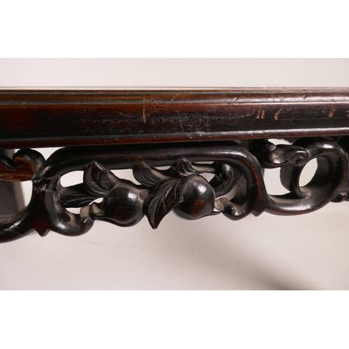 9 - A Chinese hardwood stand, late C19th/early C20th, featuring a pierced decorative frieze, A/F, 20