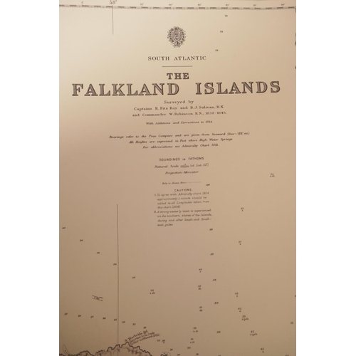 56 - Multiple Admiralty charts, covering the Falkland Islands, Tierra del Fuego, the North Sea, Harwich e...