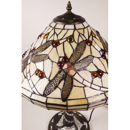 33 - A Tiffany style table lamp with dragonfly decoration, 22½