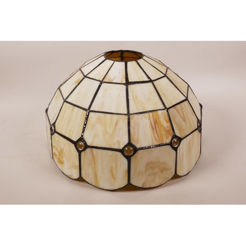 37 - A Tiffany style sectional leaded glass lampshade, 12