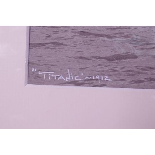 39 - 'Titanic-1912' photographic print by Beken using the original historical glass plate negative, handw...
