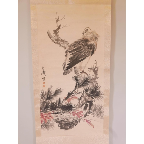 45 - A Chinese watercolour scroll depicting a vulture, 26