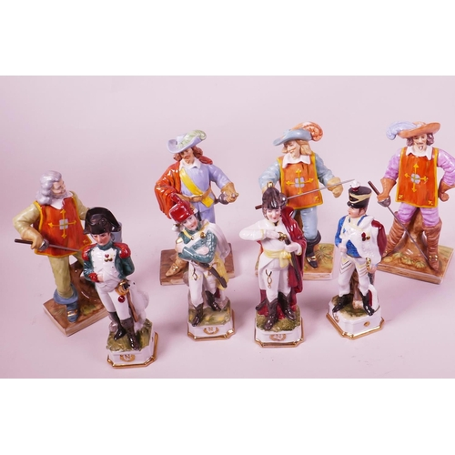 47 - Four Continental porcelain figurines of d'Artagnan, and The Three Musketeers, 8