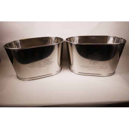 17 - A pair of large chromium plated oval Bollinger champagne buckets engraved with quotes from Lily Boll...