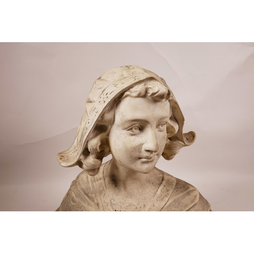 24 - A C19th decorative bust of a Dutch lady in traditional dress, signed J. Gianelli, plaster cast, 12
