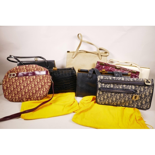 39 - A box of circa twenty vintage designer handbags and purses from the 1960s and 70s, includes some pro...
