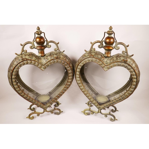 4 - A pair of metal and glass, heart shaped garden candle lanterns, 20½