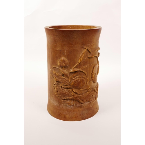43 - A Chinese bamboo brush pot with carved decoration of carp in a lotus pond, 7