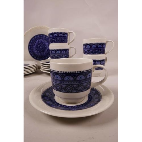 49 - Royal Doulton 'Babylon' 1970s part tea service, with blue and purple decoration, six teacups, six te...