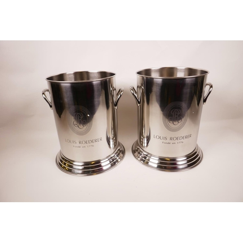 54 - A pair of chromium plated Louis Rocherer two handled champagne coolers, 8½