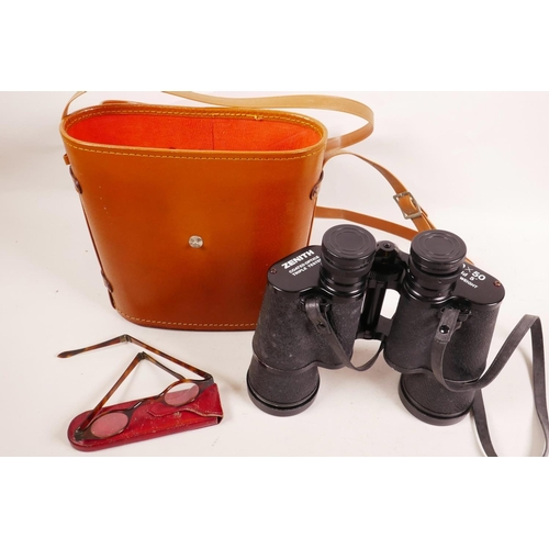 9 - A pair of Zenith 10X50 lightweight field binoculars, coated lenses triple tested, with leather case;...