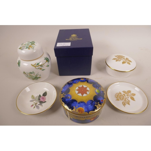 13 - A Royal Worcester porcelain Celestial 'Millenium' pot and cover, stamped to base, in original box, a...