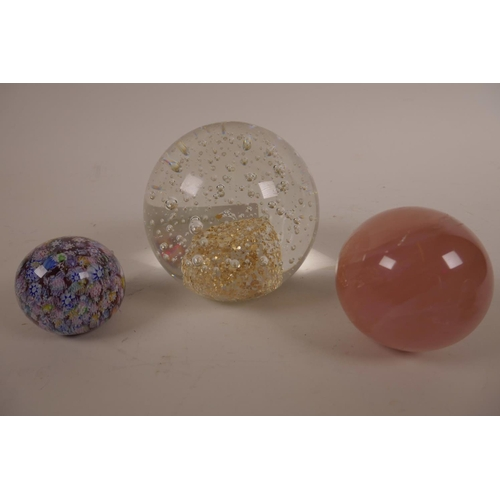 14 - Six paperweights, including Caithness 'Red Rose', 'Avondale Glass', Adrian Sankey and rose quartz, v...