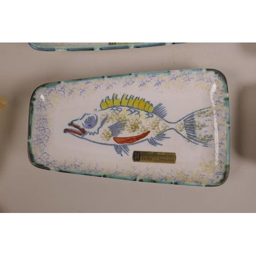 15 - A set of four Honiton pottery fish plates, mark to base, 10