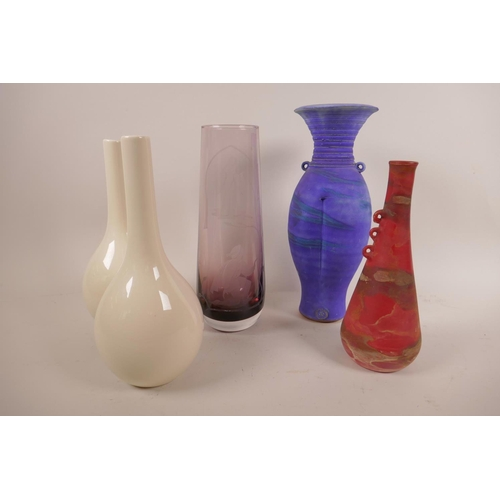 16 - A Caithness etched amethyst glass vase of 'Romeo and Juliet', signed to the base 'AJW'86', 9¼