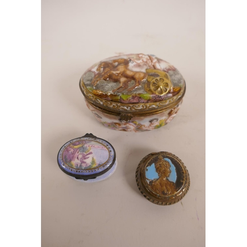 19 - Two C19th enamel patch boxes, and a large enamelled Naples box decorated with cherubs and a Roman ch...