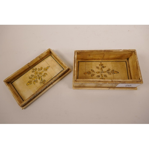 20 - An Indian bone box and cover, with penwork decoration and gilt highlights, 5