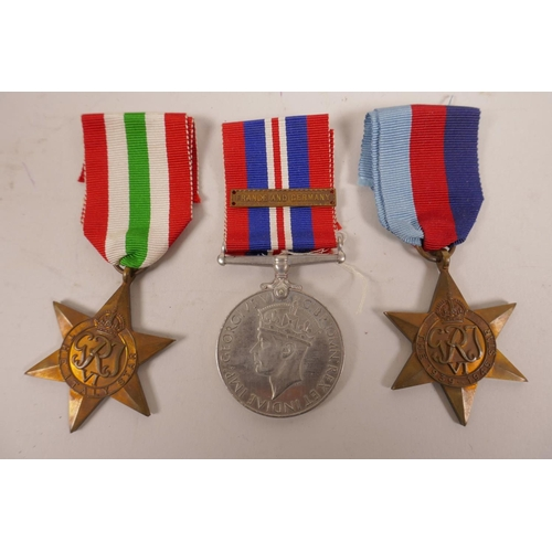 22 - Six WWII 1939-45 war medals; 'The Atlantic Star', 'The Italy Star', 'The Burma Star', 'The Africa St...