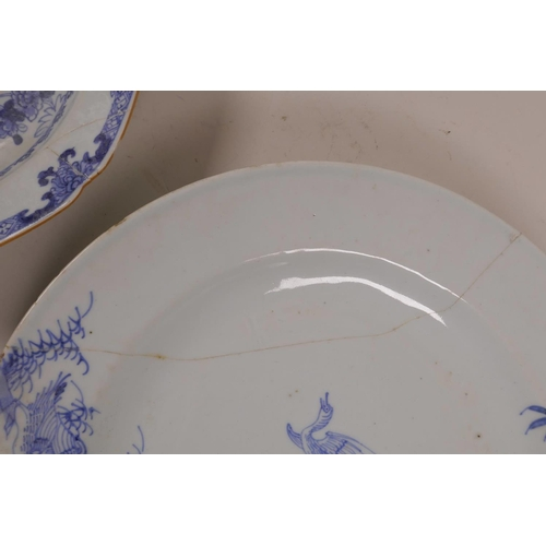 5 - A late C18th/early 19th Chinese blue and white dish with waterfowl decoration, and another with lobe...