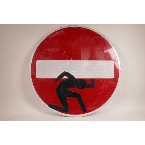 54 - After Clet Abraham, an adapted original  'No Entry' road sign, red and white reflective material on ...