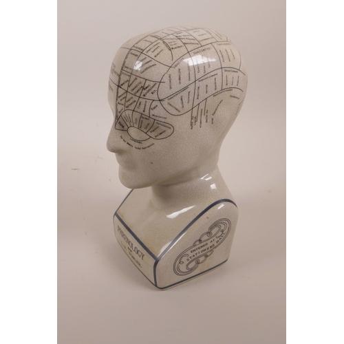 6 - A pottery phrenology head with crackle glaze, 9½