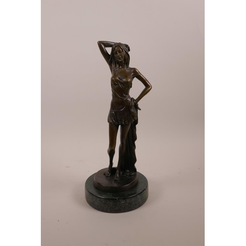 8 - After Luis Noee, a bronze figure of a young woman, mounted on a marble base, 11