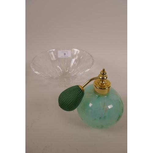 9 - A Stuart lead crystal bowl, plus two scent bottles in decorative art glass, a cut glass trinket box ...