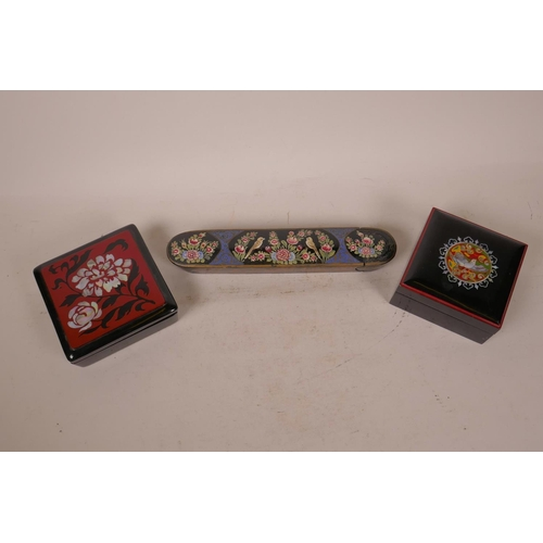 2 - A Kashmiri papier mache scribe's box hand painted with birds and flowers, 10