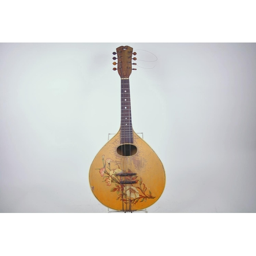 1 - A vintage flat back mandolin with rosewood finger board and floral painted decoration, 24