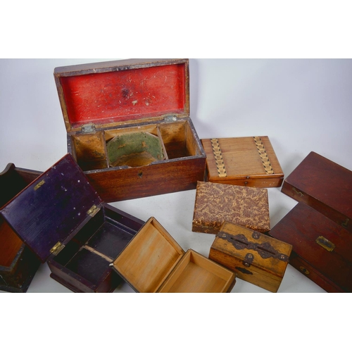 14 - A collection of vintage and antique boxes including a mahogany tea caddy etc...