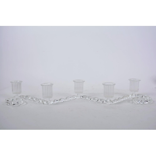 16 - A pair of contemporary French glass five light candelabra, 18