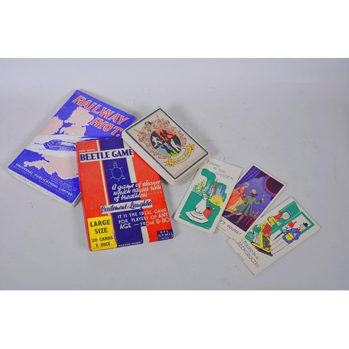 4 - A small collection of vintage games and playing cards including Beetle Game, Sport a Crest, Faulkner...