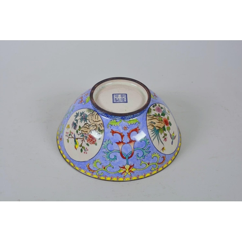 40 - A Chinese Canton enamelled copper bowl with decorative panels depicting birds amongst flowers, 4 cha...