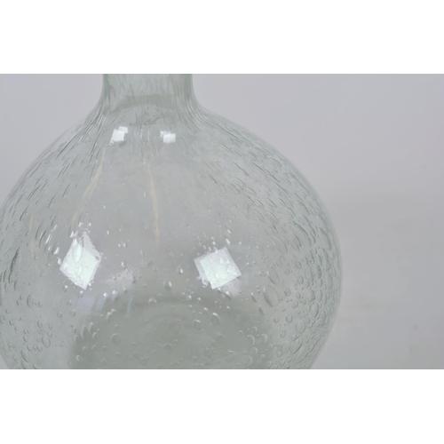 44 - A bulbous bubble glass specimen vase with long slender neck, 12