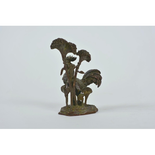 51 - A Chinese bronzed metal cockerel, and another of a mythical creature, longest 7