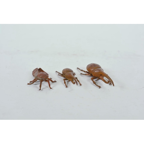 59 - Three Japanese Jizai style bronzed metal insects, largest 3