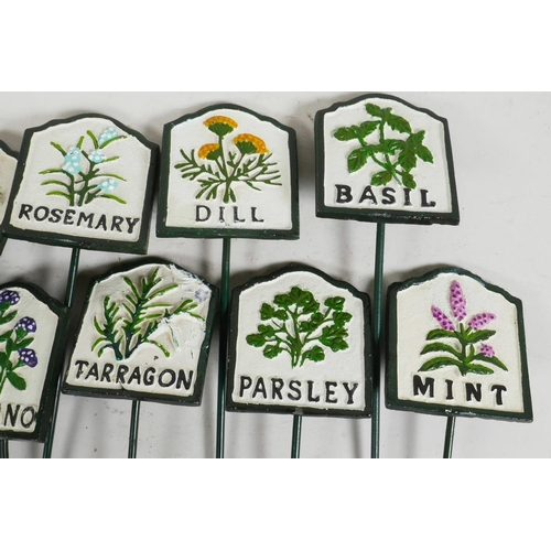 1 - A set of twelve painted iron herb garden labels, 11½