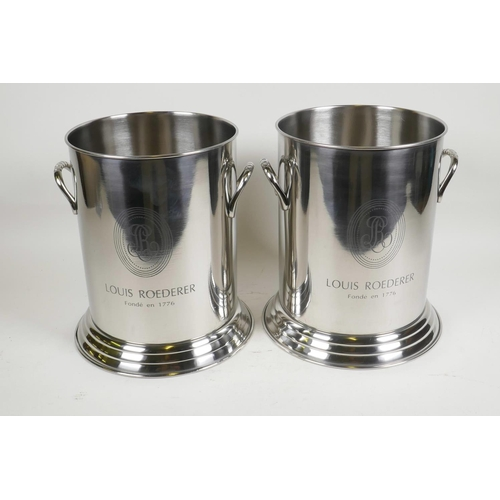 11 - A pair of contemporary chrome plated champagne coolers with Louis Roederer decoration, 9½