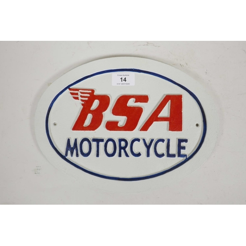 14 - A painted cast iron plaque advertising BSA Motorcycles, 12