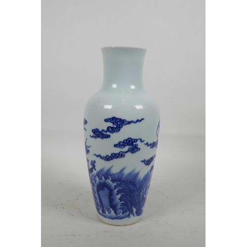 16 - A Chinese blue and white porcelain vase decorated with dragons and clouds, six character mark to bas...