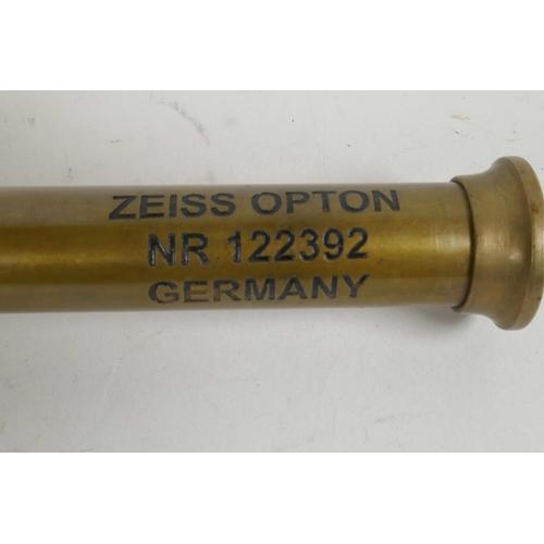 19 - A brass cased three draw telescope marked Zeiss Germany, 6