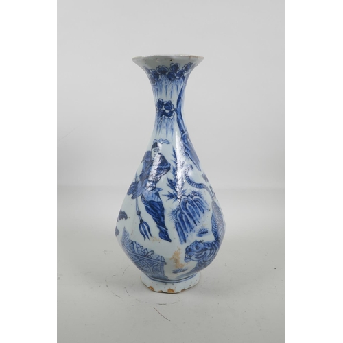 25 - A Chinese blue and white pottery octagonal pear shaped vase decorated with warriors hunting a tiger,...