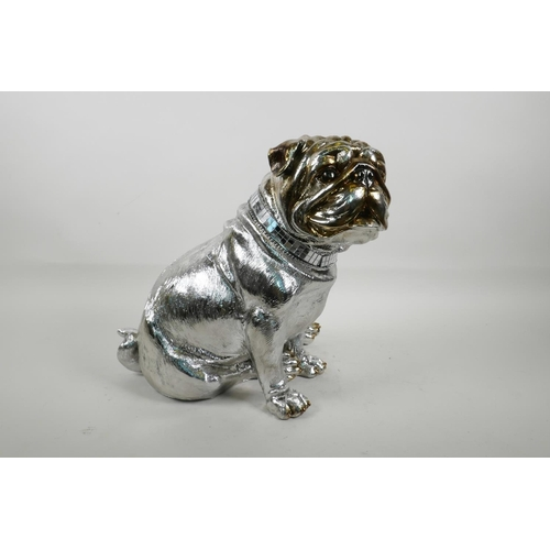 28 - A contemporary silvered composition figure of a bulldog, 11½