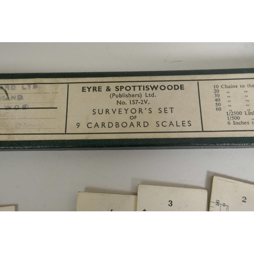 41 - A boxed set of engine divided boxwood surveyor's scale rules, together with a set of Eyre & Spottisw...