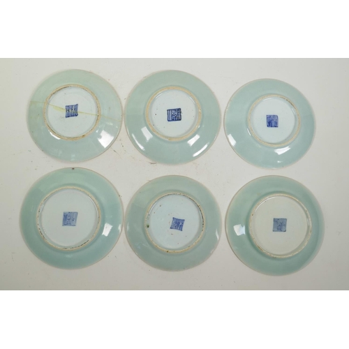 43 - Six early C19th Chinese celadon famille rose porcelain plates, with enamel decoration of butterflies...
